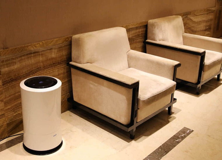Bryty Air Cleaner in a hotel lobby