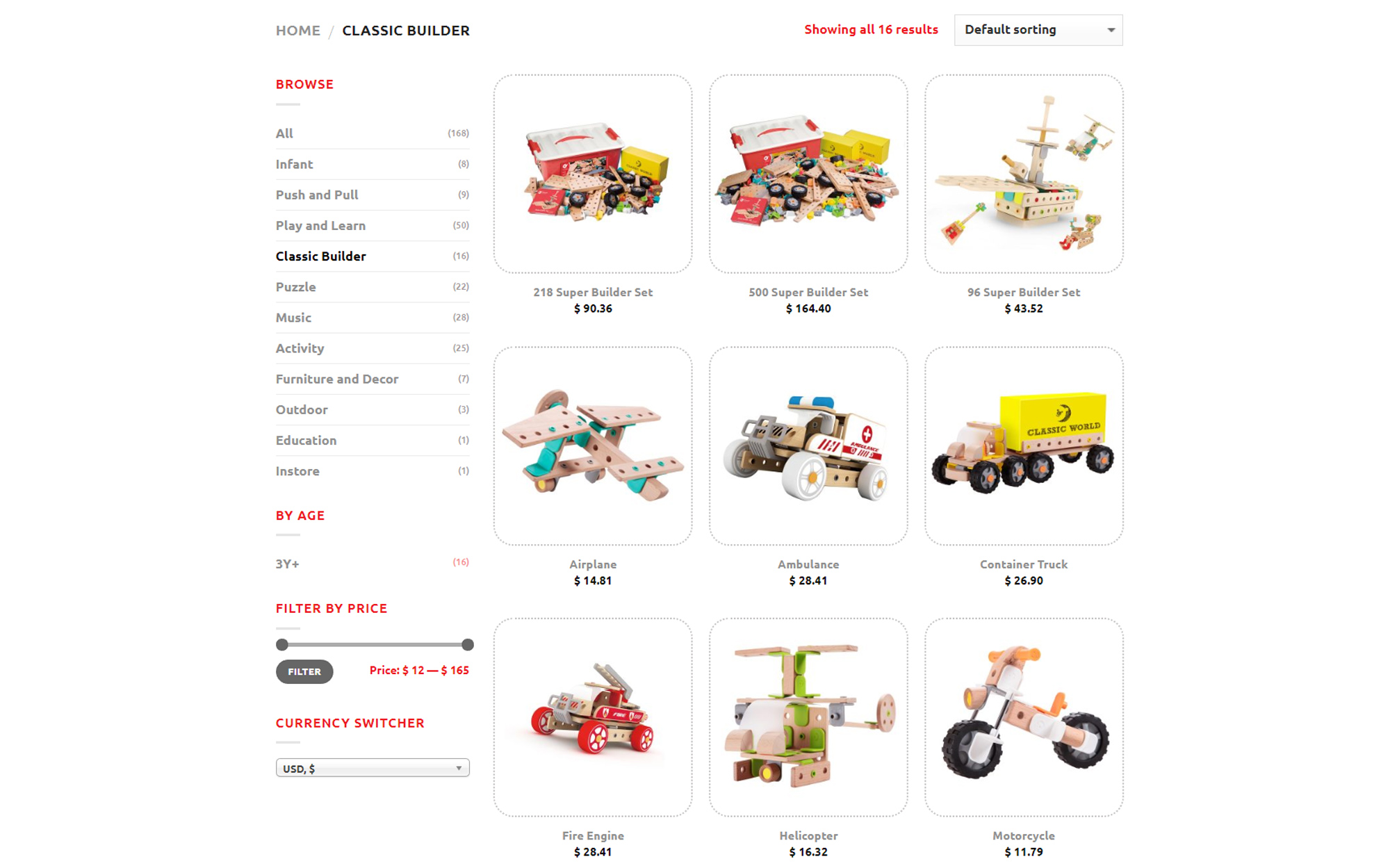 Screenshot of product category page