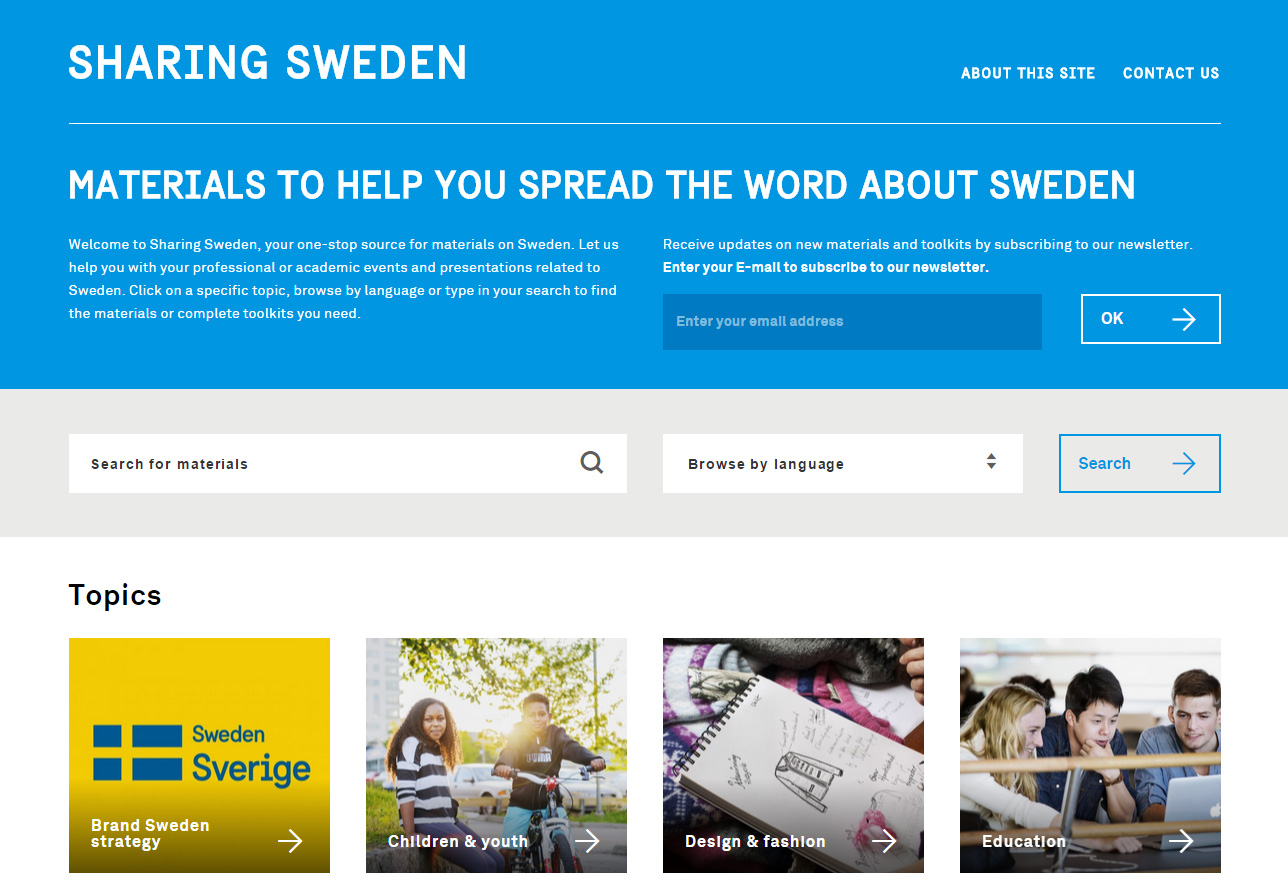 screenshot of sharingsweden.se on desktop